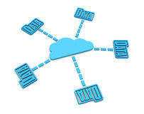 Cloud computing. Some stylized folders connected to a cloud, concept of cloud computing network (3d render Royalty Free Stock Photos
