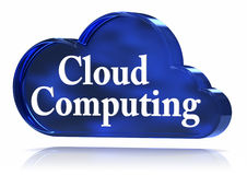 Cloud Computing. 3D text upon a blue glass cloud. Part of a series Royalty Free Stock Photography