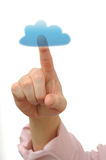 Cloud Computing. Man's hand click on cloud icon ahead Royalty Free Stock Images