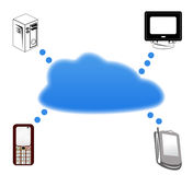 Cloud Computing. Concept. Client computers communicating with resources located in the cloud Stock Photos