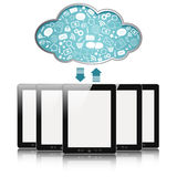 Cloud computing. A tablet computers with blue clouds, cloud computing, tablet pc Stock Photos