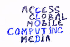 Cloud computing. And other related words, handwritten with marker on white Stock Image