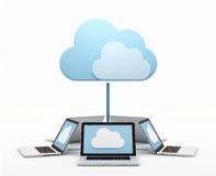 Cloud computing. Concept. Circular aligned laptops connected to virtual cloud Royalty Free Stock Photo