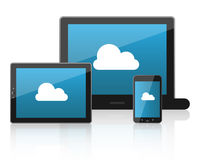 Cloud computing. Concept illustration with a laptop, a tablet and a smartphone with a cloud in their screen.EPS file available Stock Image