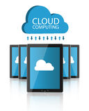 Cloud computing. Concept illustration with several pc tablets and a blue cloud with arrows.EPS file available Royalty Free Stock Images