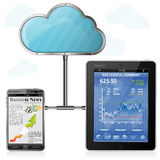 Cloud Computing. Concept - Cloud with Tablet PC and Smartphone with Business applications, vector Stock Photo