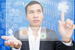 Cloud Computing. Business Man Pressing on Cloud Computing Stock Photography