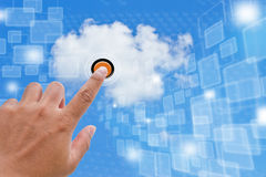 Cloud Computing. Hand Pressing Cloud Button for Business Royalty Free Stock Photography