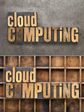 Cloud computing. Text in vintage letterpress wood type, a collage of two pictures with different background - grunge metal and wooden typesetter box royalty free stock photo