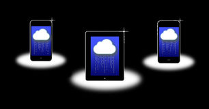 Cloud computing. An image for the latest cloud computing connection a market leading product. The image shows three small computers like the the Apple ipod, ipad Stock Image
