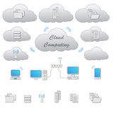 Cloud Computing. Grey scheme and icons isolated on white. Vector graphics Stock Photos