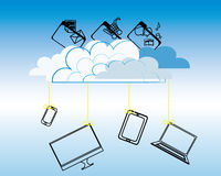 Cloud computing. Concept. Computers, cell phone and tablet hanging on a cloud Stock Photo