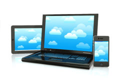 Cloud computing. Laptop,smartphone and pad electronics Royalty Free Stock Image