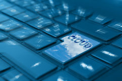Cloud Computing. Concept - Detail of Key With Cloud Symbol on Keyboard stock images