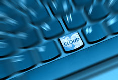 Cloud Computing. Concept - Detail of Key With Cloud Symbol on Keyboard royalty free stock photo