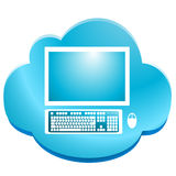 Cloud Computing. Computer with keyboard and mouse in blue cloud stock illustration