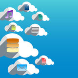 Cloud computing abstract concept with flat design icons Royalty Free Stock Images