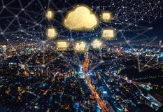 Cloud Computing with aerial view of Tokyo, Japan. At night stock images