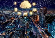 Cloud Computing with aerial view of Tokyo, Japan Royalty Free Stock Photos