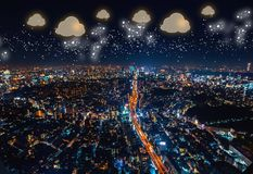 Cloud Computing with aerial view of Tokyo, Japan stock photos