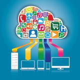 Cloud Computing and Applications concept. Royalty Free Stock Photo