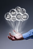Cloud computing applications at your fingertips Royalty Free Stock Image