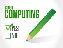 Cloud computing approval sign illustration Stock Images
