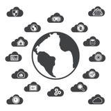 Cloud computing around the world Royalty Free Stock Image