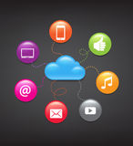 Cloud Computing Background. Glossy icons representing cloud computing and computer connectivity Stock Photo