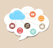 Cloud Computing Background. Speech bubble with cloud computing icons Royalty Free Stock Image