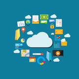 Cloud computing background. Data storage network technology. Multimedia content , web sites hosting. Internet contents concept Royalty Free Stock Photography