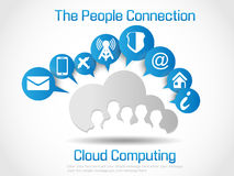 Cloud computing background infographic people connection Stock Photography
