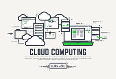 Cloud computing banner. Flat style, thick and thin line design concept. Set of application window, servers, laptop and clouds. Cloud computing technology banner Stock Image