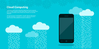 Cloud computing banner. Picture mobile phone and clouds with data streams on background, cloud computing, cloud service concept, flat style illustration Stock Photography