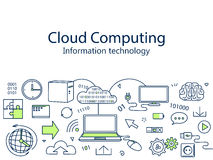 Cloud computing banner vector illustration. Information technology. Icons line art set Stock Photography