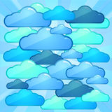 Cloud computing batlle concept. Competition of many clouds computing services Stock Image