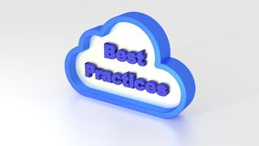 Cloud computing best practices symbol  on white. 3D illustration Stock Image