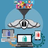 Cloud computing and big data filter before used for safety from. Hacker – vector Illustration Stock Images