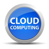 Cloud Computing blå rund knapp stock illustrationer