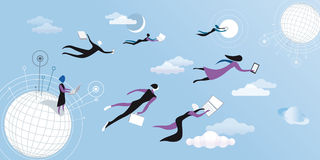 Cloud computing blue. Men a women flying and working between clouds Stock Photo