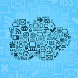 Cloud Computing Blue Background. Social Media Concept and Doodle Pattern Stock Photo