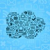 Cloud Computing Blue Background Stock Photo