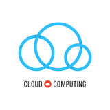 Cloud computing with blue cloud from circles. Concept of cloud technology, hosting, cloudscape, data retention. isolated on white background. flat style trend Royalty Free Stock Image