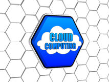 Cloud computing in blue hexagon Royalty Free Stock Photography