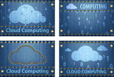 Cloud Computing on blue jeans background Stock Image