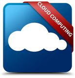 Cloud computing blue square button red ribbon in corner. Cloud computing isolated on blue square button with red ribbon in corner abstract illustration Stock Photos