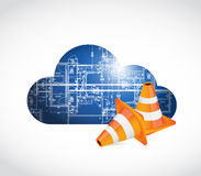 cloud computing blueprint and cones. Royalty Free Stock Photo