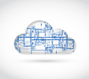Cloud computing blueprint illustration. Design over a white background Royalty Free Stock Image