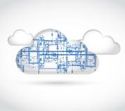 Cloud computing blueprint illustration. Design over a white background Stock Photos