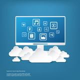 Cloud computing business concept with computer and Stock Photography